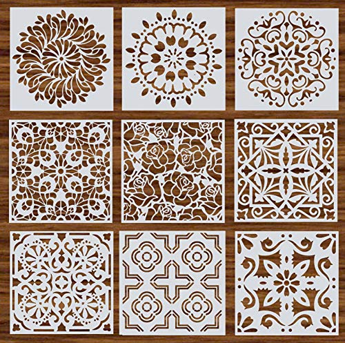 Mandala Reusable Stencil Set of 9 (6x6 inch) Painting Stencil, Laser Cut Painting Template for DIY Decor, Painting on Wood, Airbrush, Rocks and Walls Art (C)