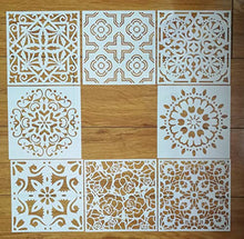 Load image into Gallery viewer, Mandala Reusable Stencil Set of 9 (6x6 inch) Painting Stencil, Laser Cut Painting Template for DIY Decor, Painting on Wood, Airbrush, Rocks and Walls Art (C)