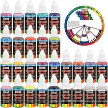 Load image into Gallery viewer, U.S. Art Supply 24 Color Acrylic Airbrush, Leather & Shoe Paint Set Opaque Colors plus Reducer, Cleaner & Color Mixing Wheel