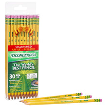 Load image into Gallery viewer, TICONDEROGA Pencils, Wood-Cased, Pre-Sharpened, Graphite #2 HB Soft, Yellow, 30-Pack (13830)