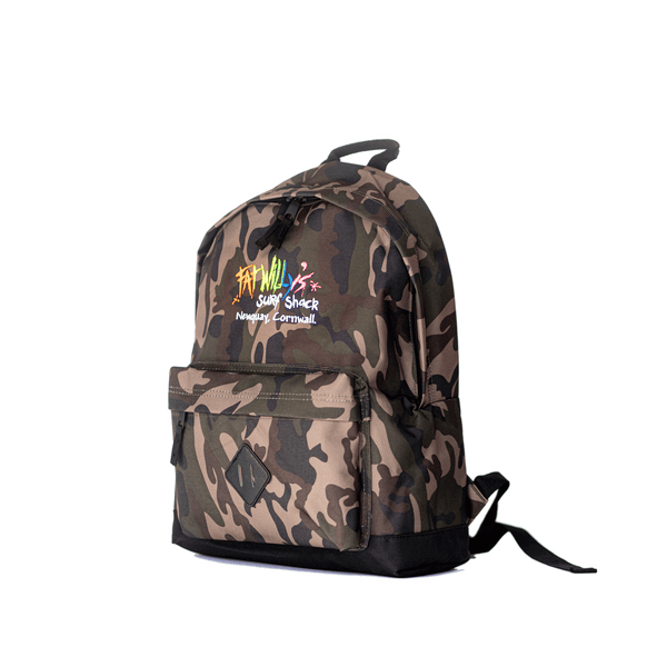 Fat Willy's Surf Shack Newquay backpack bag in camouflage design