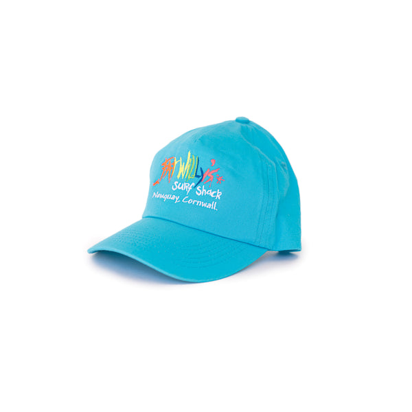Fat Willy's Surf Shack Newquay Kids cap hat in turquoise blue
