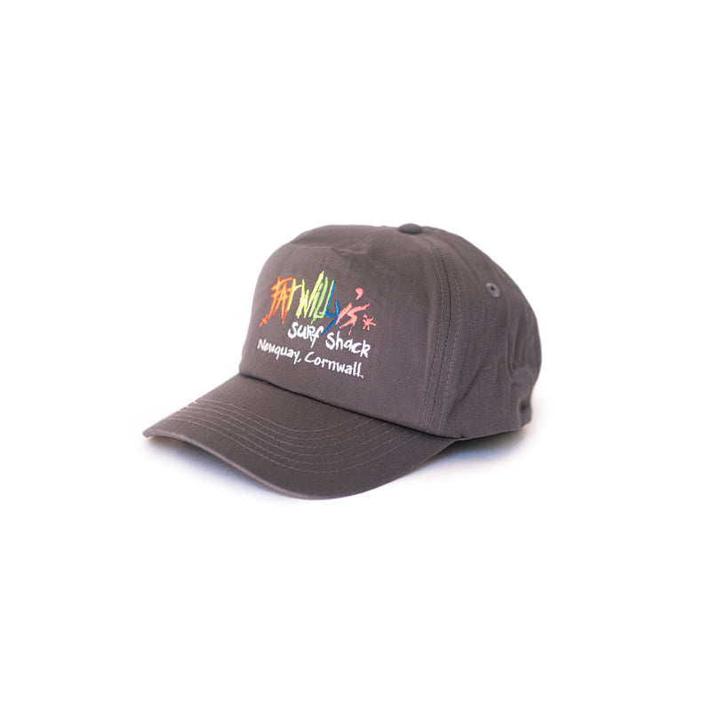Fat Willy's Surf Shack Newquay cap peaked hat in charcoal grey