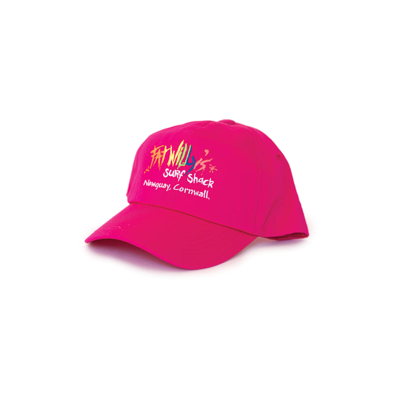 Fat Willy's Surf Shack Newquay cap peaked hat in hot pink