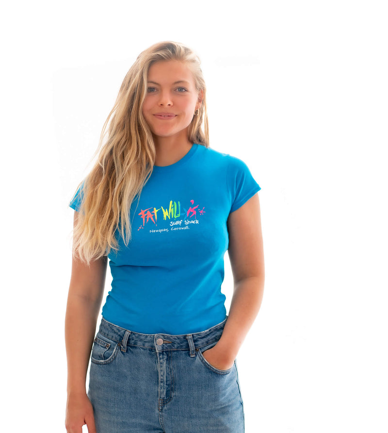 Fat Willy's Newquay adult ladies cut t-shirt in sapphire blue