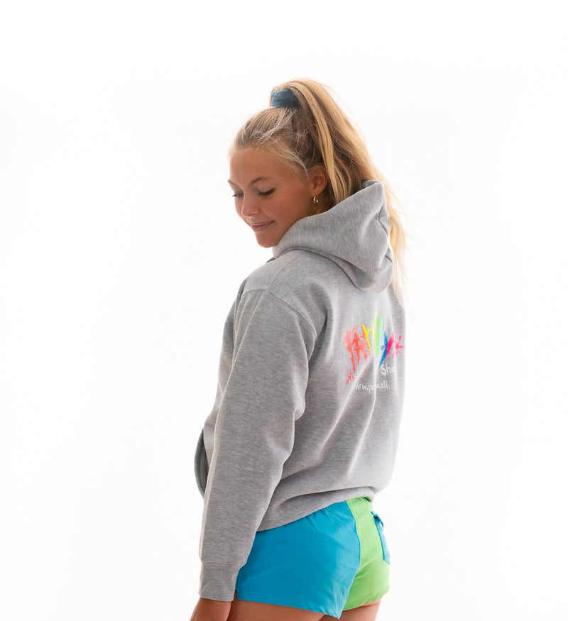 fat willy's newquay adult hoodie worn by model in sport grey