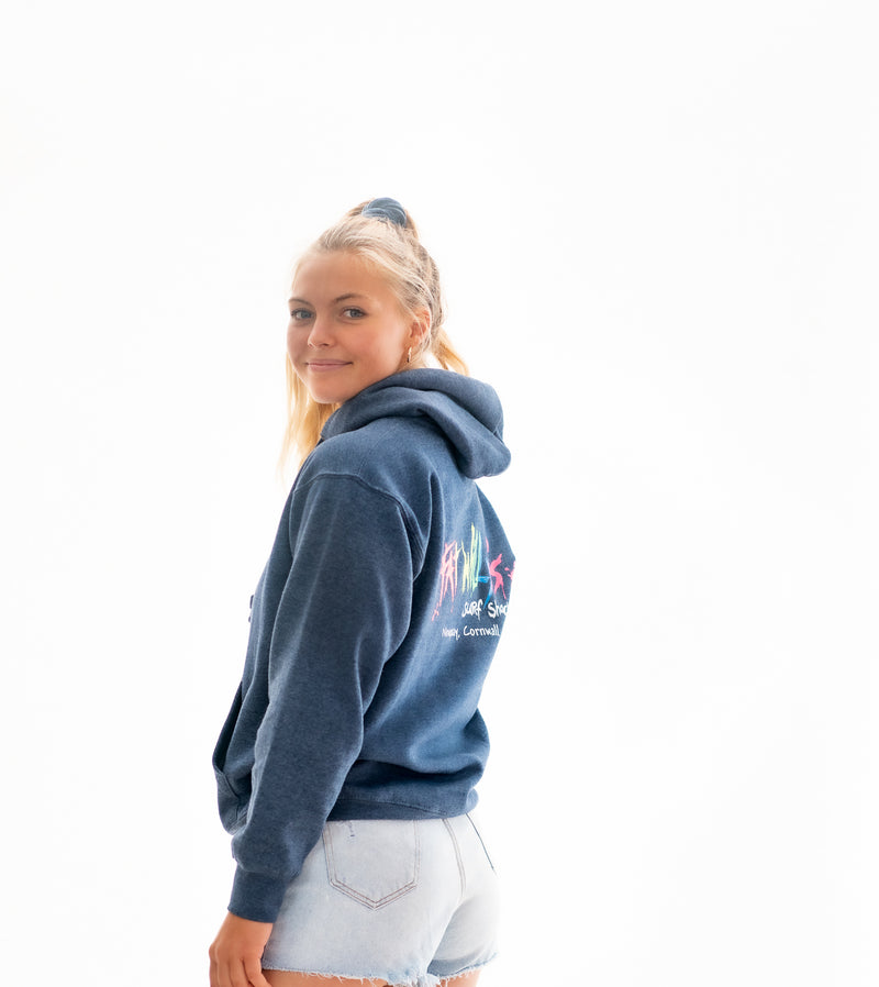 Fat Willy's Newquay adult hoodie in navy blue