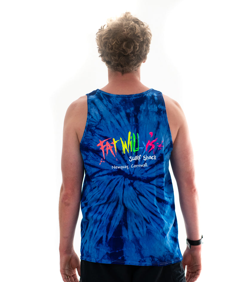 Fat Willy's Newquay Adults tie dye vest in blue