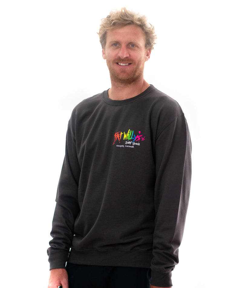 Fat Willy's Newquay Soft Crew Sweatshirt in storm grey