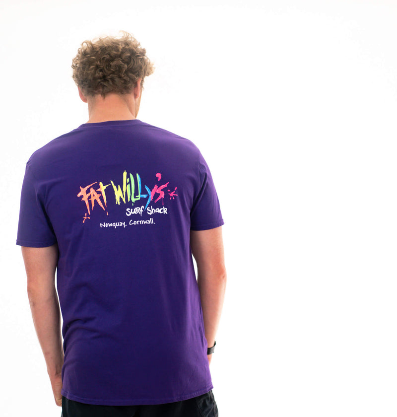 Fat Willy's Newquay adult t-shirt in Purple