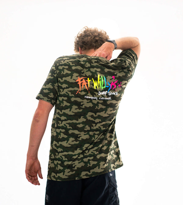 Fat Willy's Newquay adult t-shirt in army camo design