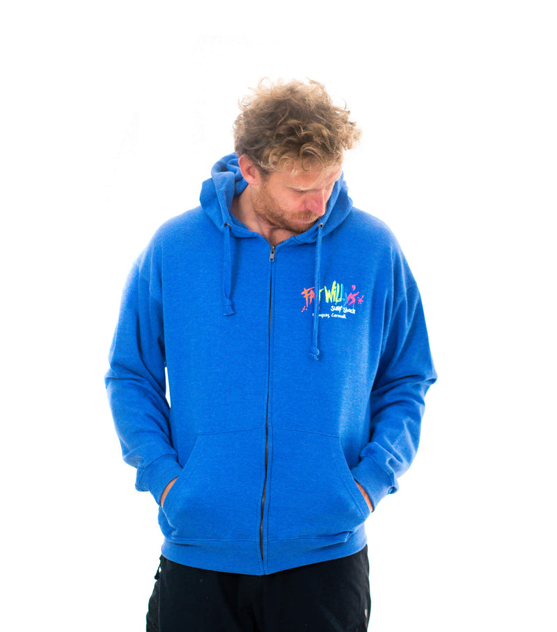 Fat Willy's Newquay Adult Zip Hoodie in Blue Melange