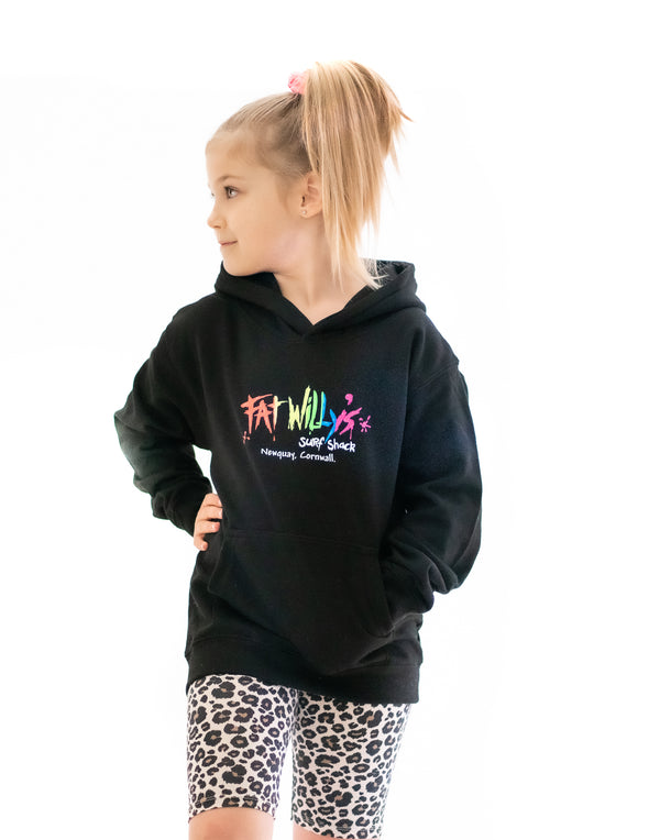 Fat Willy's Surf Shack Newquay Kids hoodie in black