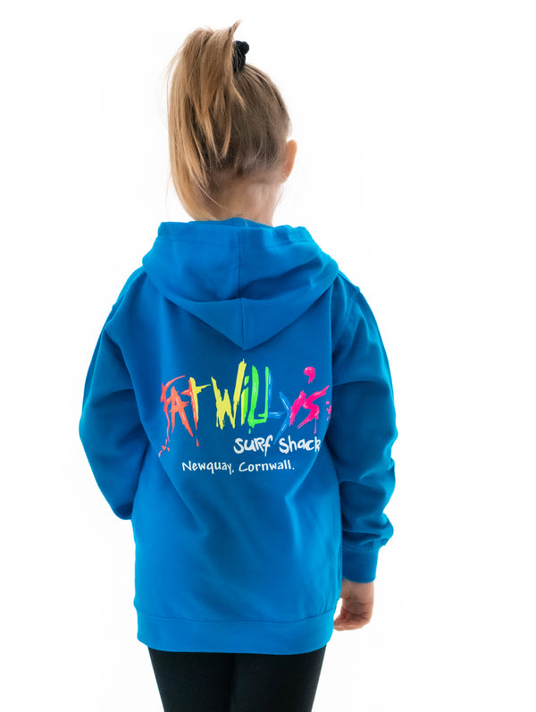 Fat Willy's Newquay Kids Hoodie in Sapphire Blue