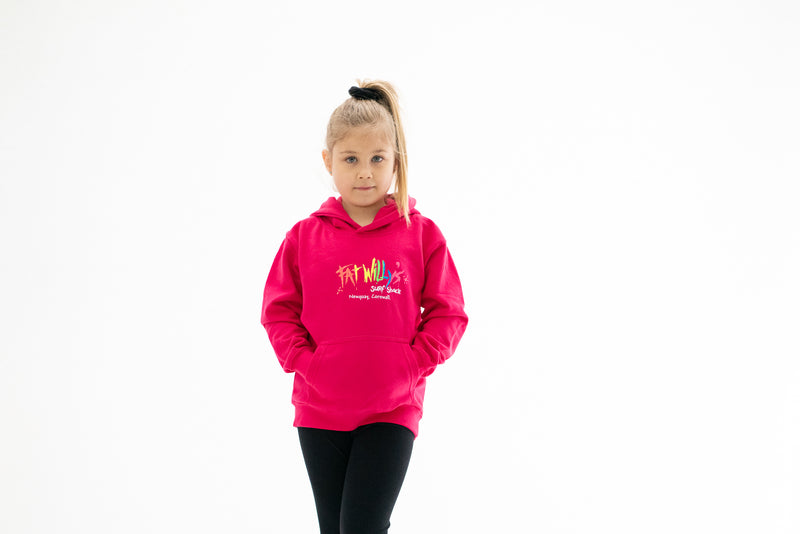 Fat Willy's Surf Shack Newquay Kids Hoodie in hot pink