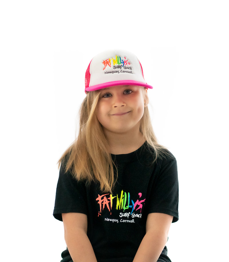 Fat Willy's Newquay Kids Trucker Cap in Pink