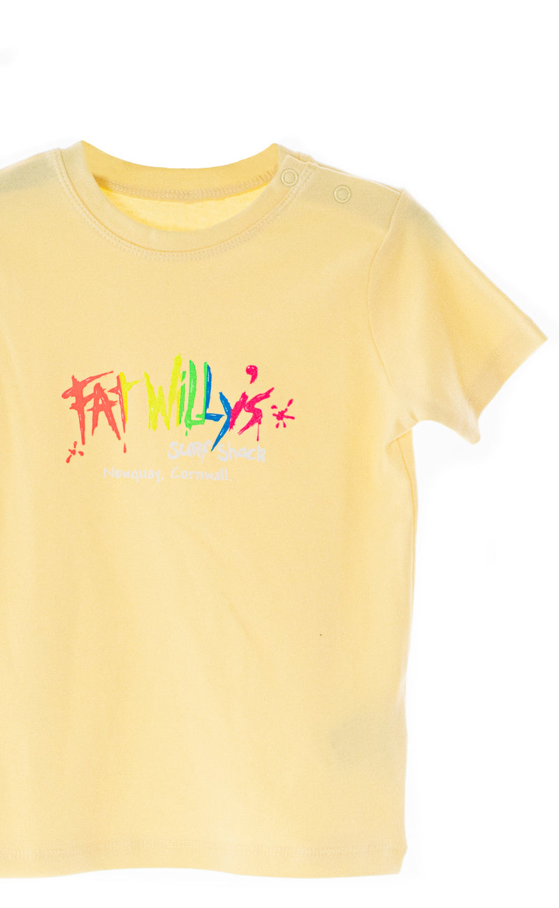 Fat Willy's Newquay toddler t-shirt in lemon yellow