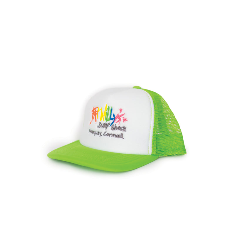 Fat Willy's Newquay Kids Trucker Cap in lime green