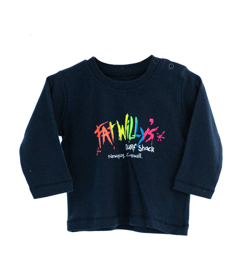 Fat Willy's Newquay baby long sleeve t-shirt in navy blue
