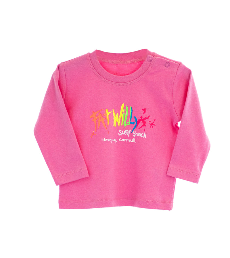 Fat Willy's Newquay toddler long sleeve t-shirt in pink