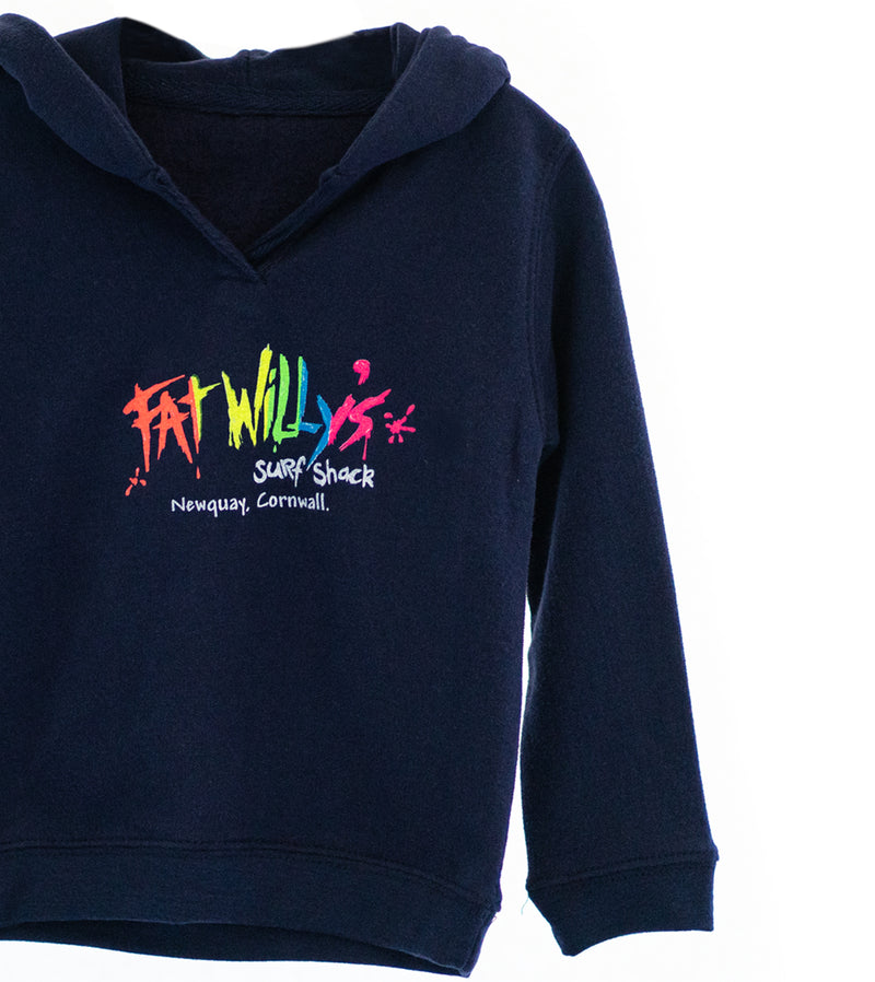 Fat Willy's Newquay baby hoodie in navy blue