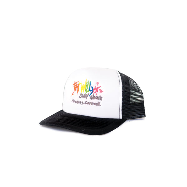 Fat Willy's Newquay trucker cap in black and white