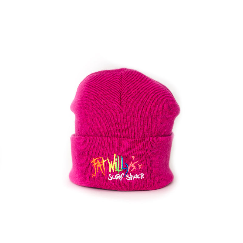 Fat Willy's beanie hat newquay pink