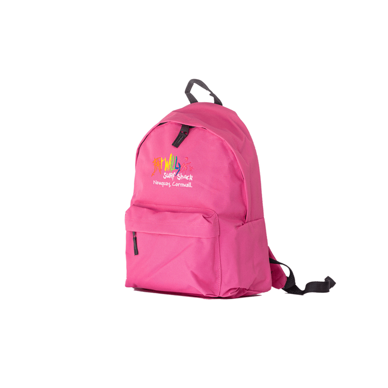 Fat Willy's Surf Shack Newquay backpack bag in baby candy pink