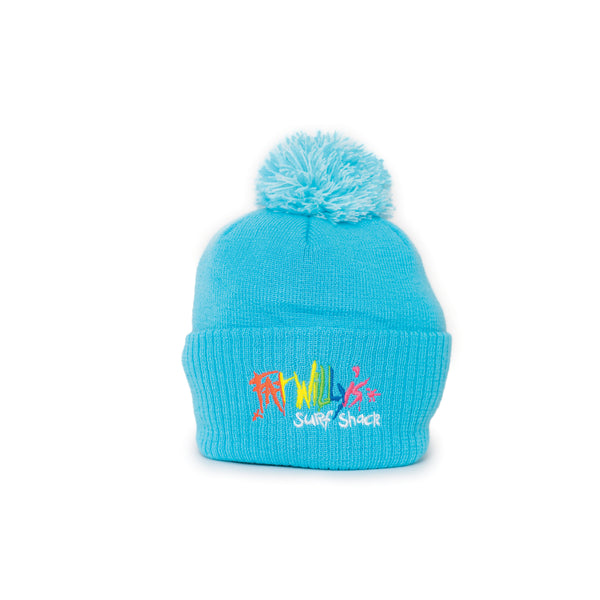 Fat Willy's Surf Shack Newquay Kids bobble hat in turquoise blue