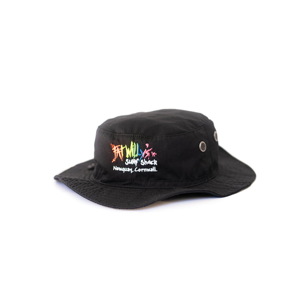 Fat Willy's Newquay adult cargo bucket hat in black