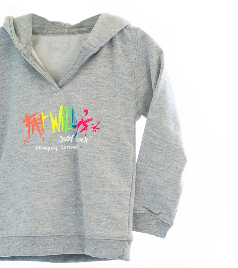 Fat Willy's Newquay baby hoodie in grey