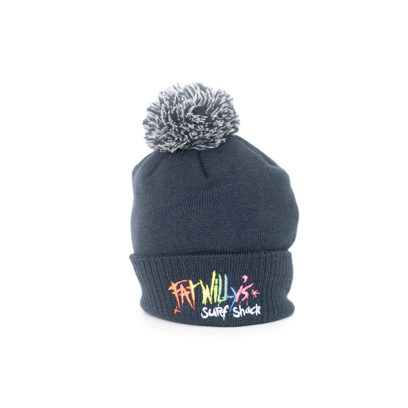 Fat Willy's Surf Shack Newquay Kids bobble hat in navy blue