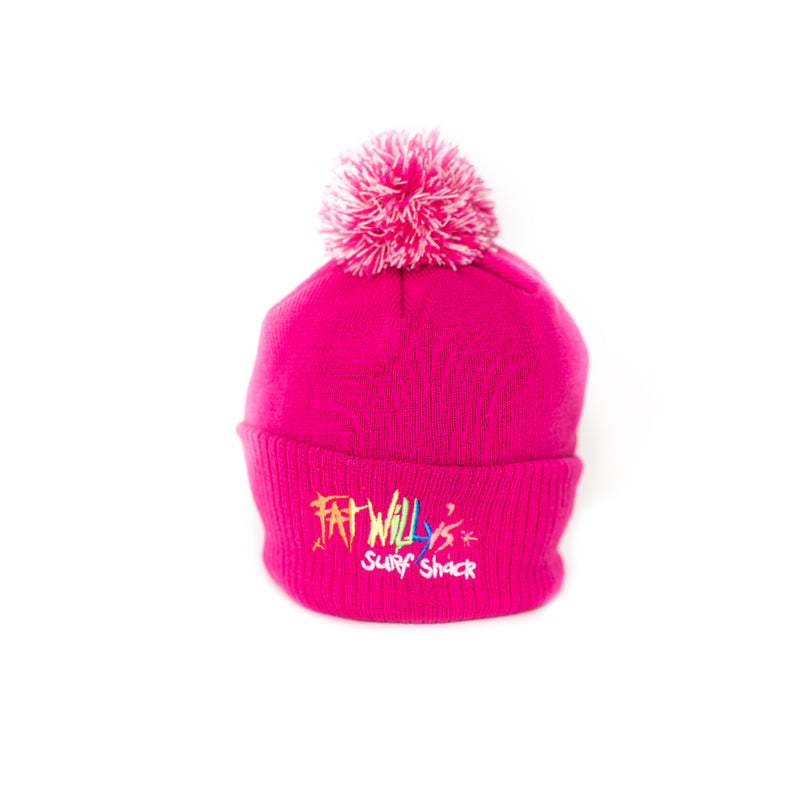 Fat Willy's Surf Shack Newquay Kids bobble hat in hot pink
