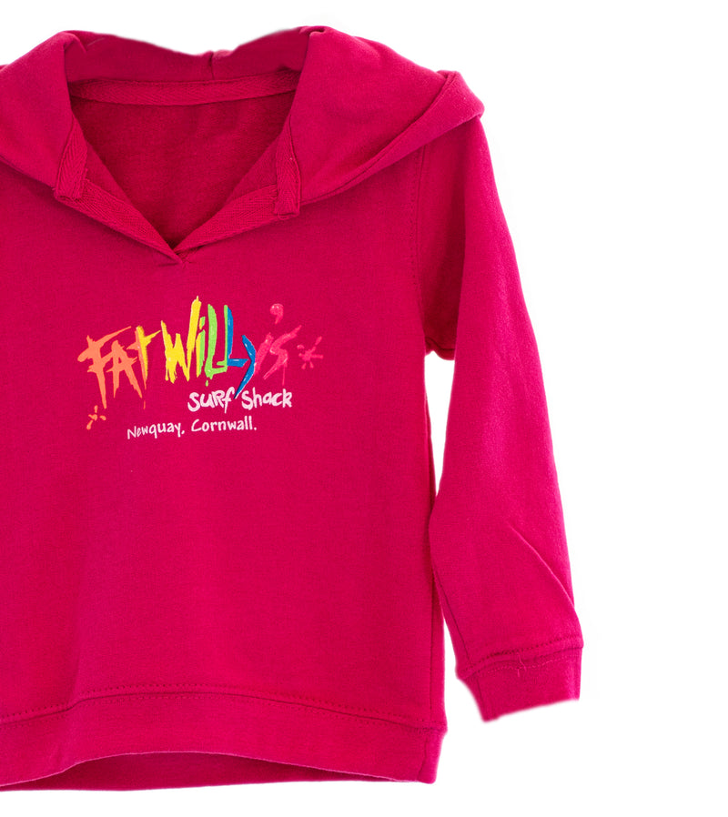 Fat Willy's Newquay baby hoodie in pink