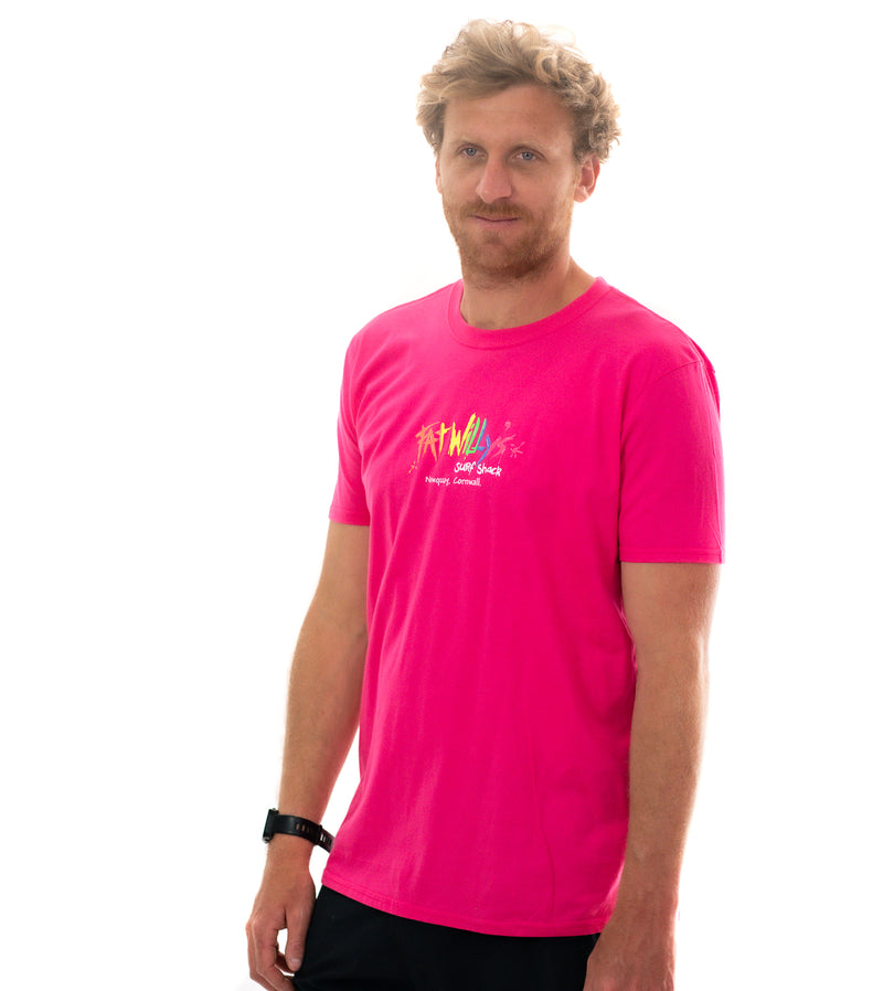 Fat Willy's Newquay adult t-shirt in pink