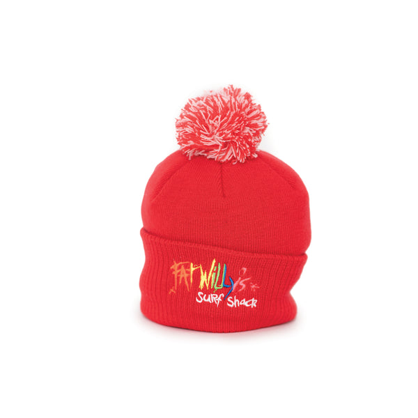 Fat Willy's Surf Shack Newquay Kids bobble hat in red