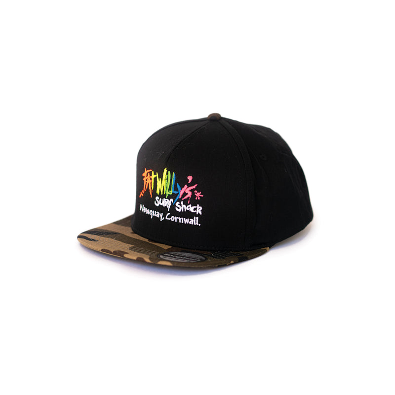 fat willy's newquay snapback cap in black and camoflauge