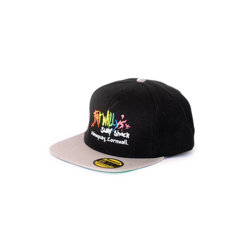 fat willy's newquay snapback cap in black and grey