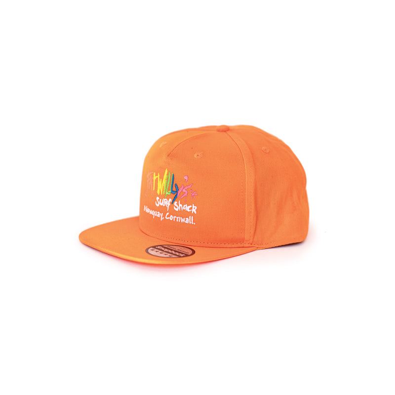 fat willy's newquay snapback cap in bright orange