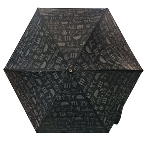 Umbrella Motif Foldable Black (Lightweight & UV coated)