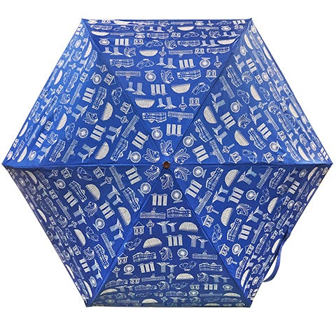 Umbrella Motif Foldable Blue (Lightweight & UV coated)