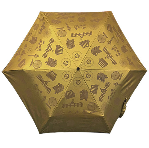Umbrella Motif Foldable Gold (Lightweight & UV coated)