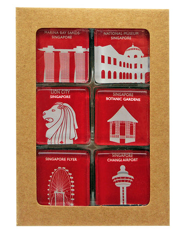 Magnet Glass Square Iconic Architecture Red </br> *NEW*