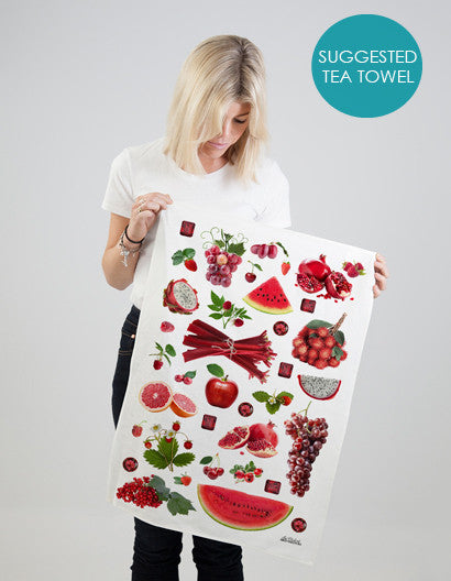 summer fruits tea towel- eco-friendly kitchen