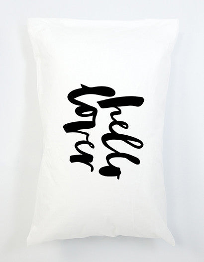 Black and white typographic hello lover pillowcase
