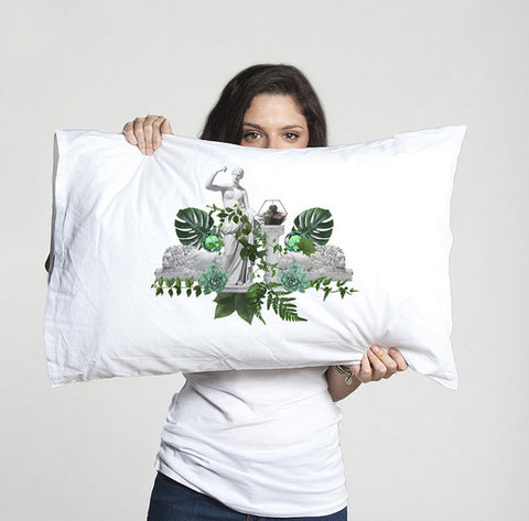 Tropical bed linen in green and white pillowcase in organic cotton