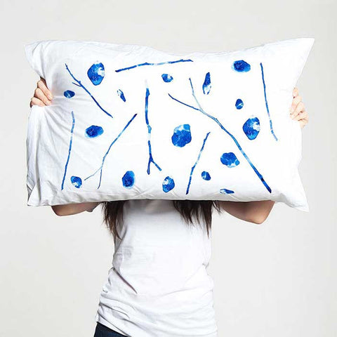 Blue and white pillowcases