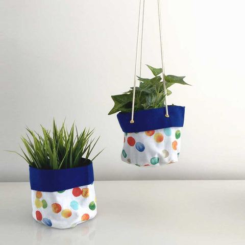 hanging planter in bright colours