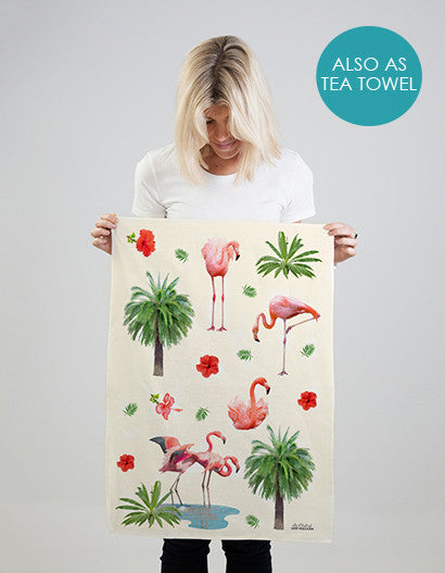 Flamingo pattern on tea towel