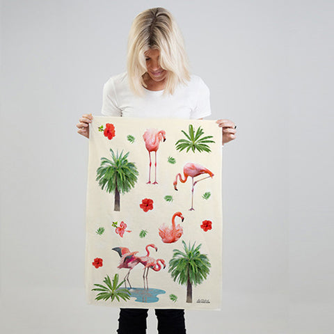 Flamingo tea towel in hemp